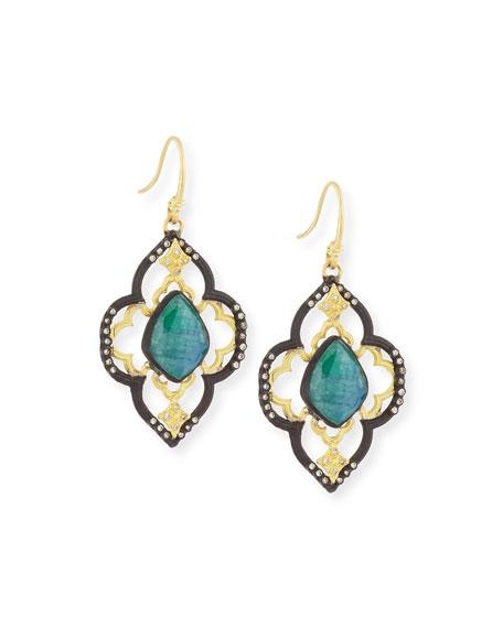 Armenta Old World Malachite/Rainbow Moonstone Scroll Earrings