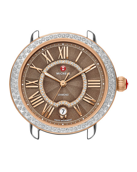 MICHELE 16mm Serein Diamond Cocoa Watch Head, Two-Tone
