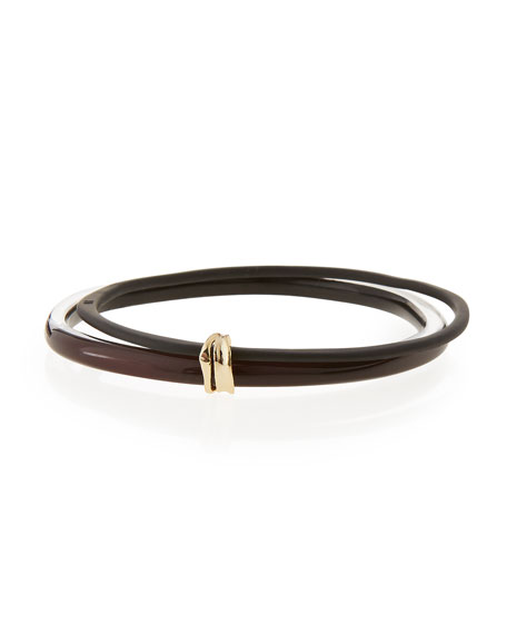 Alexis Bittar Lucite Liquid Paired Bangle, Black Cherry