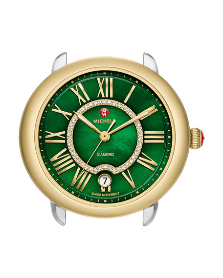 MICHELE 16mm Serein Green Diamond Watch Head, Two-Tone