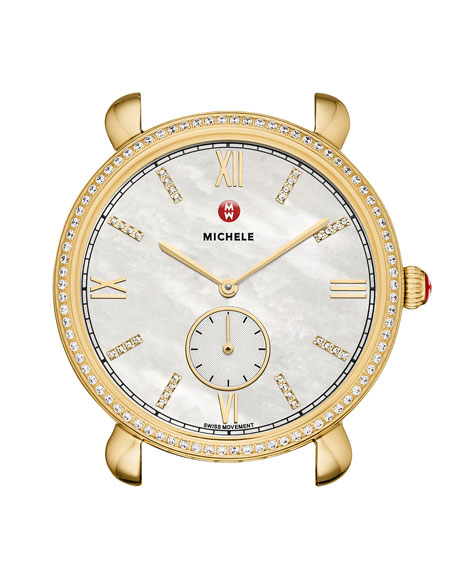 MICHELE 36mm Gracile Diamond Mother-of-Pearl Watch Head, Gold