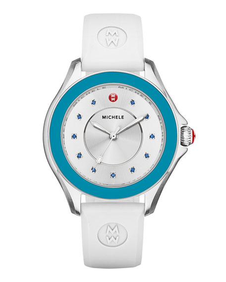 MICHELE Cape Topaz Watch w/Silicone Strap, Blue/White