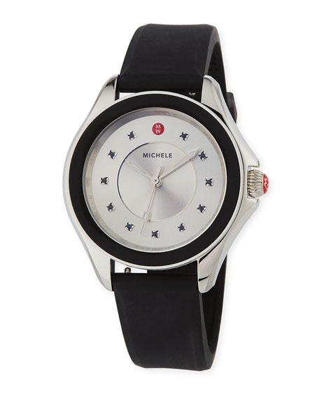 MICHELE Cape Topaz Watch w/Silicone Strap, Black