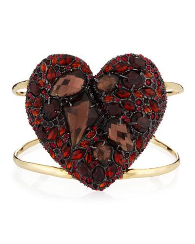 Encrusted Black Cherry Heart Cuff