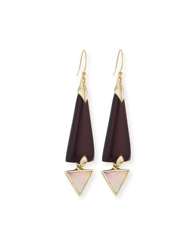 Lucite Dangle Earrings with Mother-of-Pearl, Black Cherry