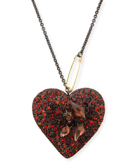 Alexis Bittar Lucite Double-Sided Crystal Heart Necklace, Black
