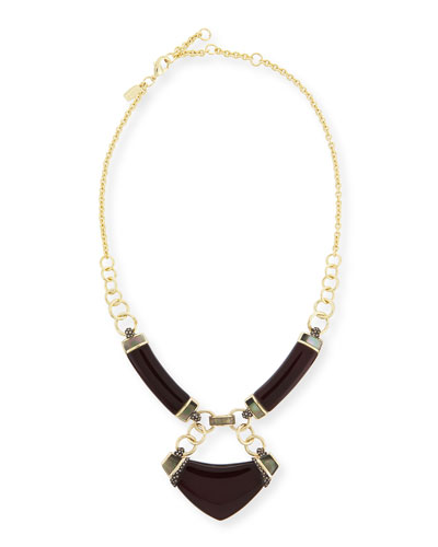 Lucite Linked Corset Bib Necklace, Black Cherry