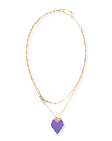 Alexis Bittar Layered Lucite Crystal Pendant Necklace