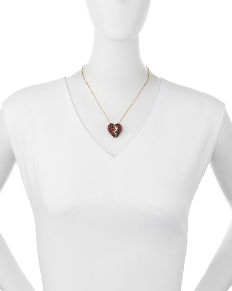 Crystal Broken Heart Pendant Necklace, Black Cherry