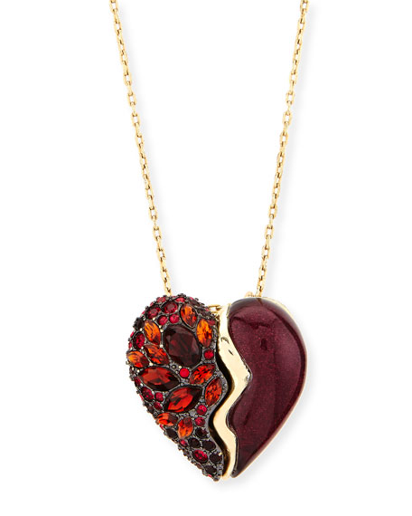 Alexis Bittar Crystal Broken Heart Pendant Necklace, Black Cherry