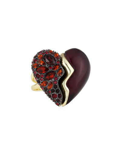 Encrusted Broken Heart Rotating Cocktail Ring