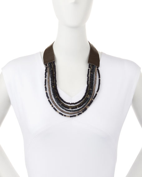 Wooden-Beaded Multi-Strand Necklace