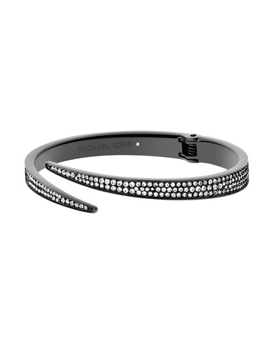 Pave Bypass Hinge Bangle, Gunmetal