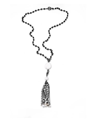 Long Pearl Tassel Necklace, Black