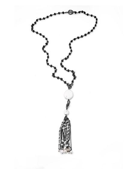 Stephen Dweck Long Pearl Tassel Necklace, Black