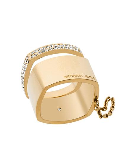 GOLD LOGO STACK BAND RING