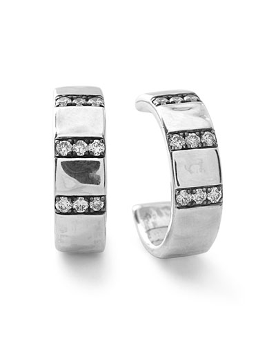 925 Glamazon Stardust 3-Band Wide Diamond Hoop Earrings