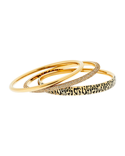 Animal Print and Pave Bangles, Set of 3