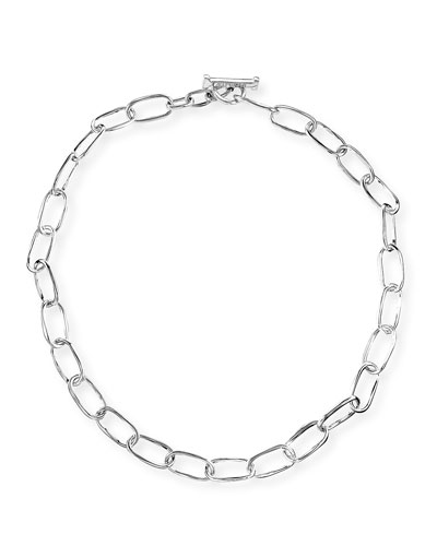 Silver Glamazon Elongated Oval Link Toggle Necklace, 18""