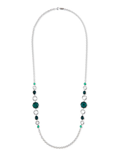 925 Wonderland 2-Station Link Necklace in Neptune, 36""