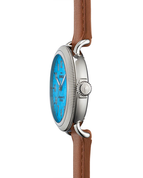 Runwell Coin Edge Watch with Leather Strap, 38mm