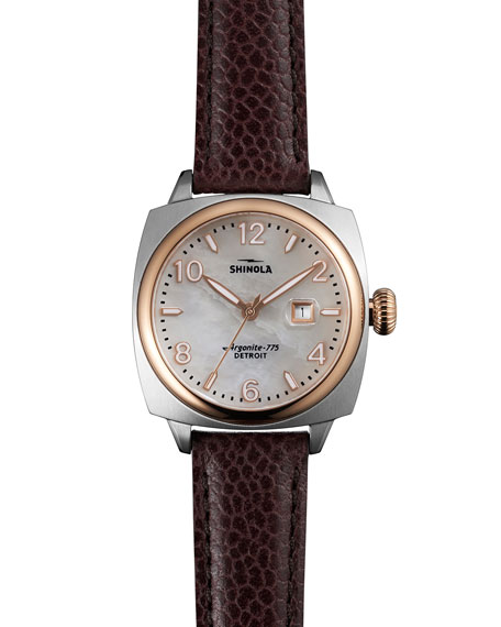 Shinola 32mm Brakeman Watch with Leather Strap, Oxblood