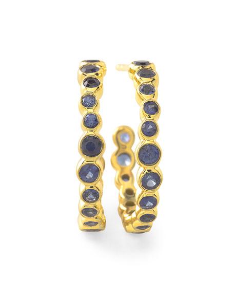 Ippolita 18k Glamazon Stardust #1 Hoop Earrings with Blue Sapphires