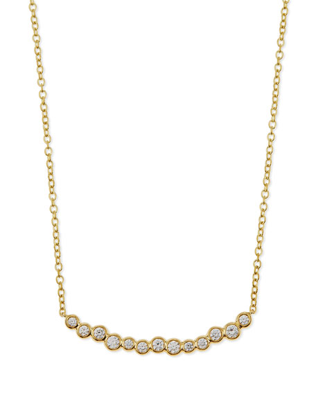 18k Glamazon Stardust Smile Bar Necklace with Diamonds