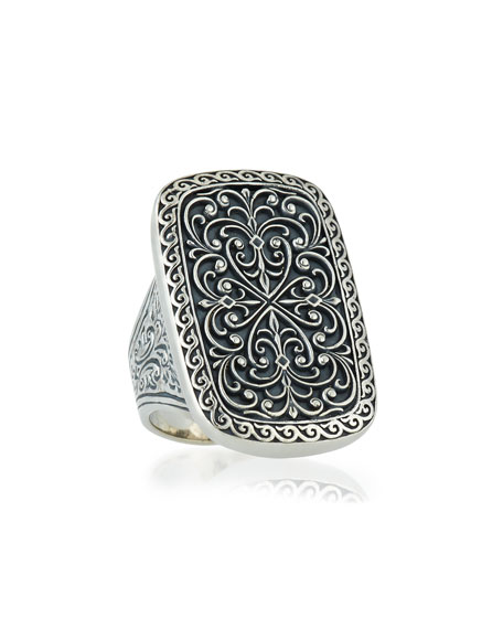 Large Silver Rectangle Filigree Ring