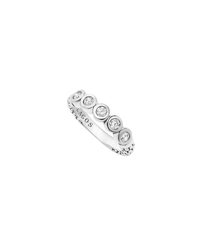 Silver Caviar 5-Diamond Stacking Ring, Size 7