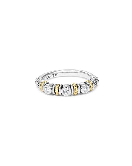 Caviar Beaded Diamond Stacking Ring, Size 7