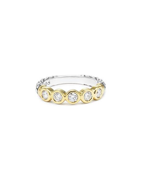 18k Gold/Silver Caviar 5-Diamond Stacking Ring, Size 7