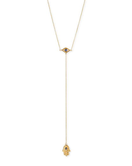 Sydney Evan 14k Gold Hamsa Diamond Lariat Necklace
