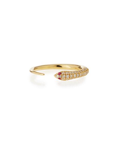 Sydney Evan14k Pave Diamond Skinny Snake Ring