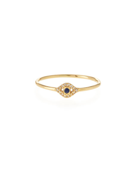 Sydney Evan 14k Gold Small Diamond Evil Eye