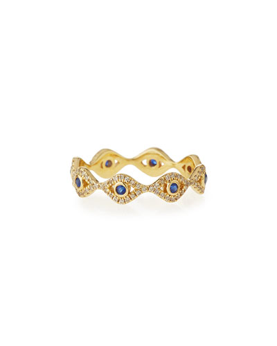 Small Evil Eye Eternity Band Ring