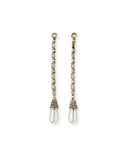 Crystal Shadow Long Baguette Earrings