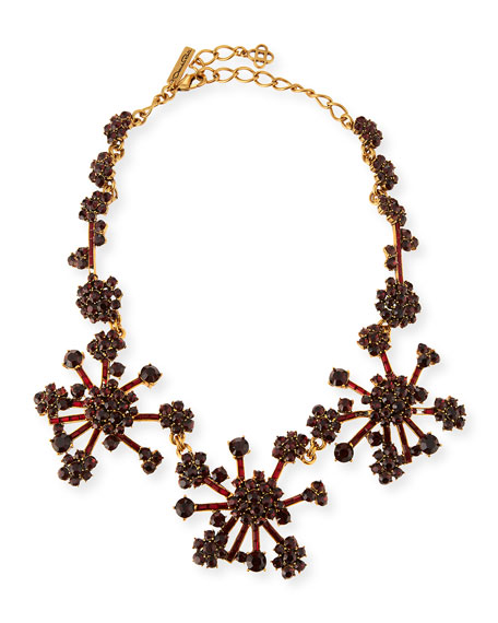 Oscar de la Renta Crystal Flower Necklace, Bordeaux