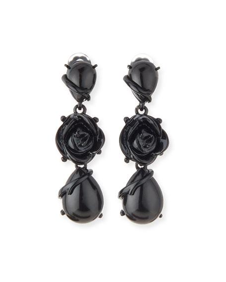 Resin Flower Drop Clip Earrings