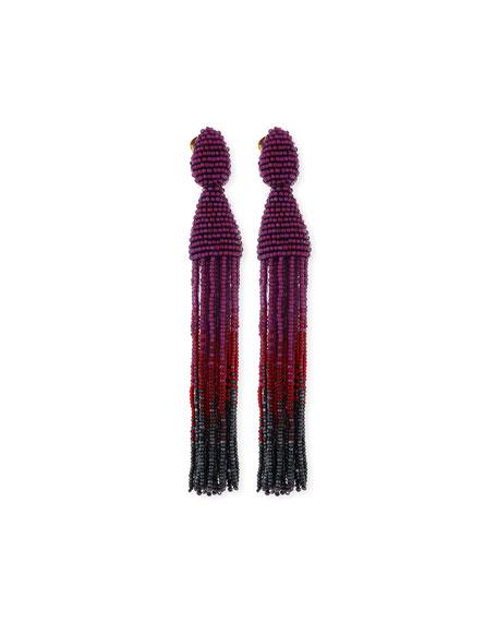 Ombre Beaded Tassel Clip Earrings, Purple