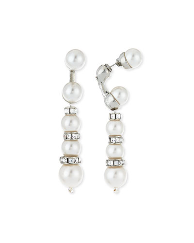 Pearly Crystal Backdrop Earrings