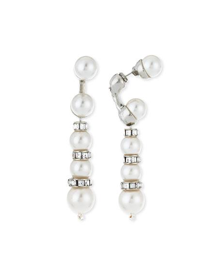 Oscar de la Renta Pearly Crystal Backdrop Earrings