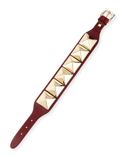 Rockstud Leather Bracelet, Crimson