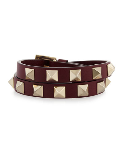 Double-Wrap Leather Rockstud Bracelet, Crimson