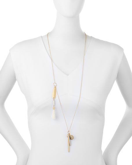 "Asymmetric Brass Pendant Necklace, 30""L"