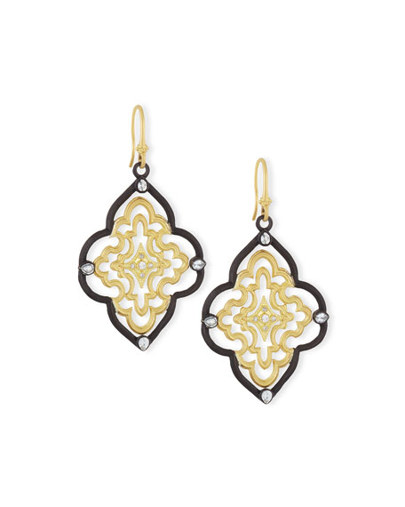 Armenta Old World Scroll Earrings with Diamonds