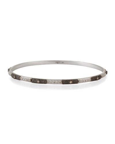 New World Square-Motif Champagne Diamond Bangle
