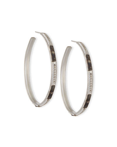 New World Square-Motif Diamond Hoop Earrings