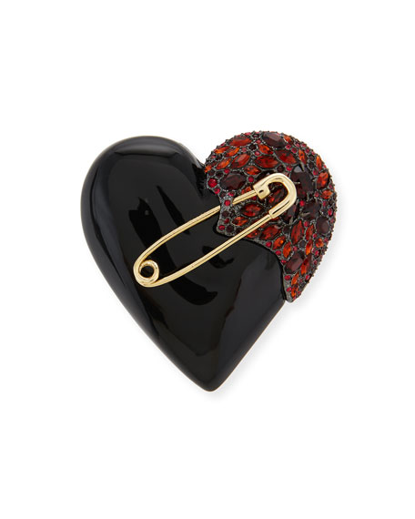 Lucite Crystal Broken Heart Pin, Black