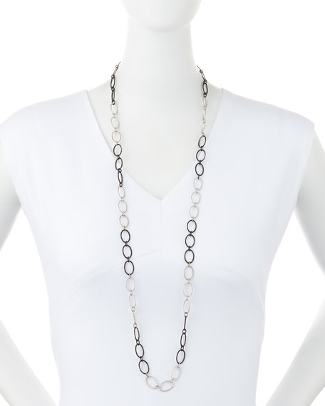 "New World Large Silver Oval Link Necklace, 38""L"